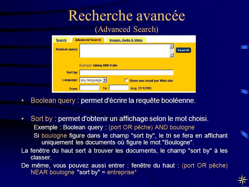 Recherche avancée (Advanced Search)