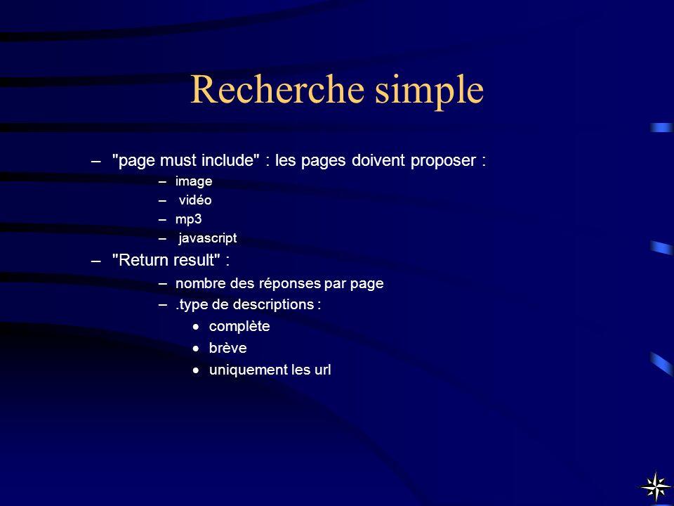 Recherche simple page must include : les pages doivent proposer :