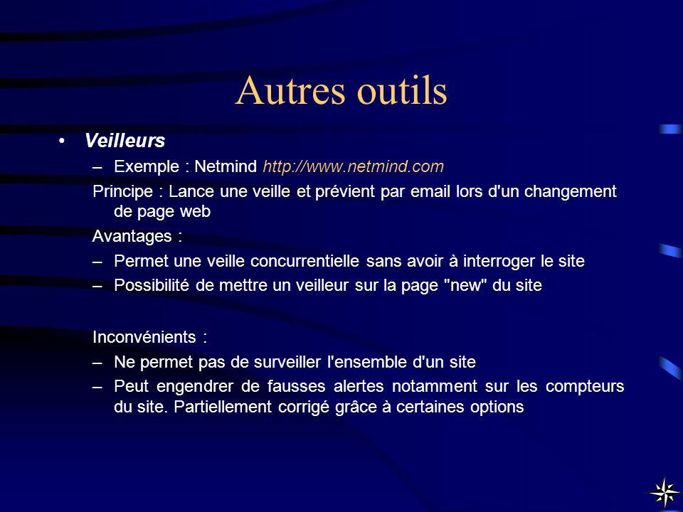 Autres outils Veilleurs Exemple : Netmind http://www.netmind.com