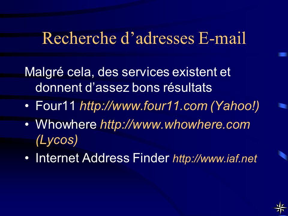 Recherche d'adresses E-mail
