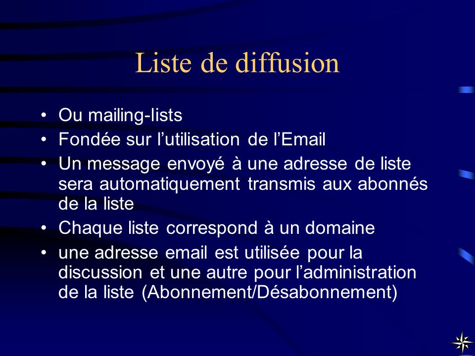Liste de diffusion Ou mailing-lists