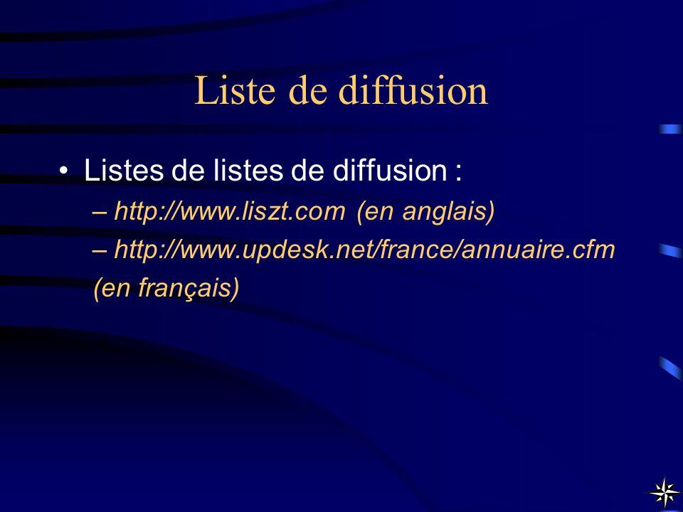 Liste de diffusion Listes de listes de diffusion :