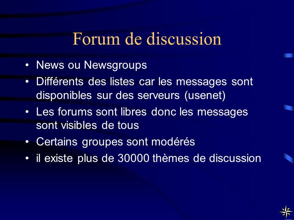 Forum de discussion News ou Newsgroups
