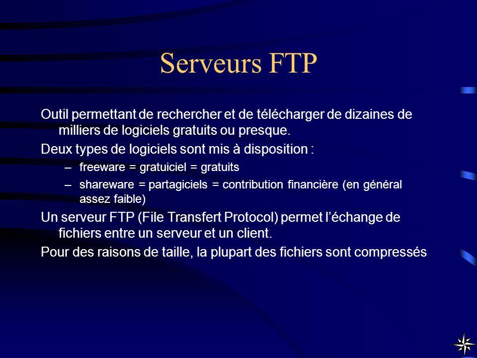 Serveurs FTP Outil permettant de rechercher et de télécharger de dizaines de milliers de logiciels gratuits ou presque.