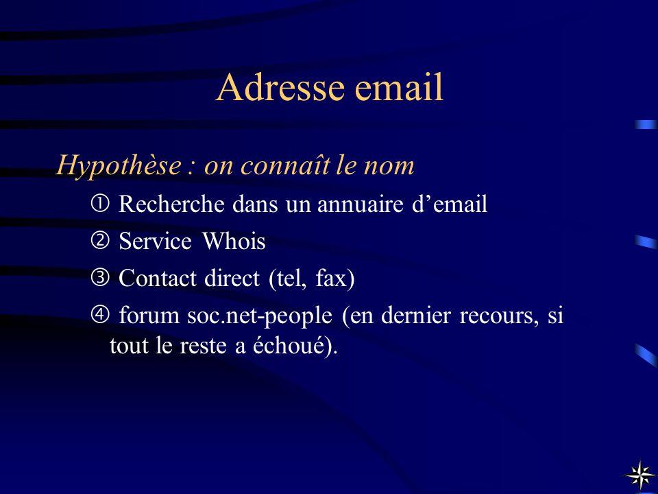 Adresse email Hypothèse : on connaît le nom