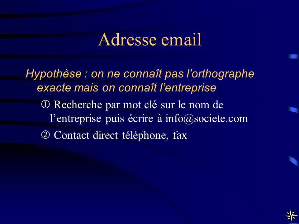 Adresse email Hypothèse : on ne connaît pas l'orthographe exacte mais on connaît l'entreprise.