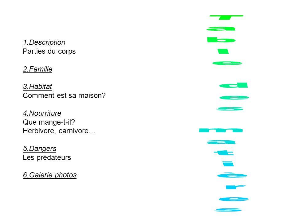 Table des matières 1.Description Parties du corps 2.Famille 3.Habitat