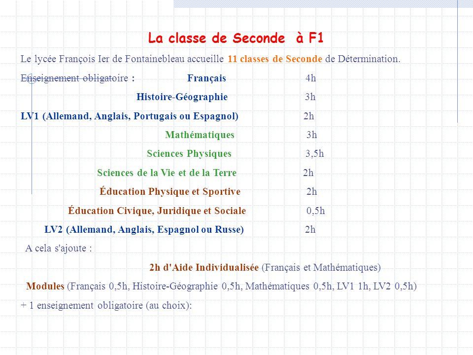 La classe de Seconde à F1 Le lycée François Ier de Fontainebleau accueille 11 classes de Seconde de Détermination.