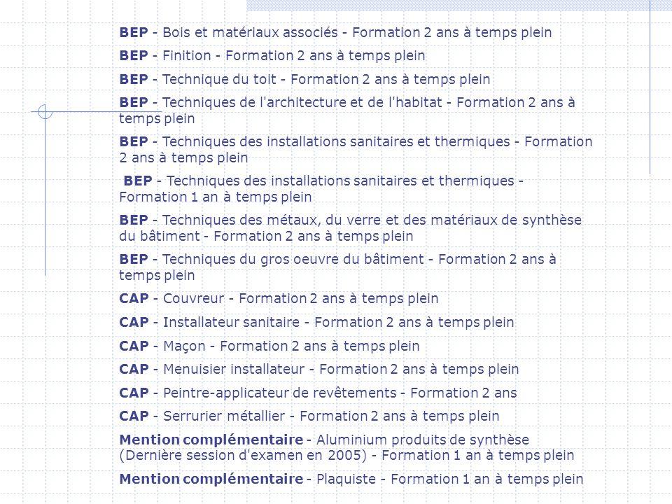 BEP - Bois et matériaux associés - Formation 2 ans à temps plein