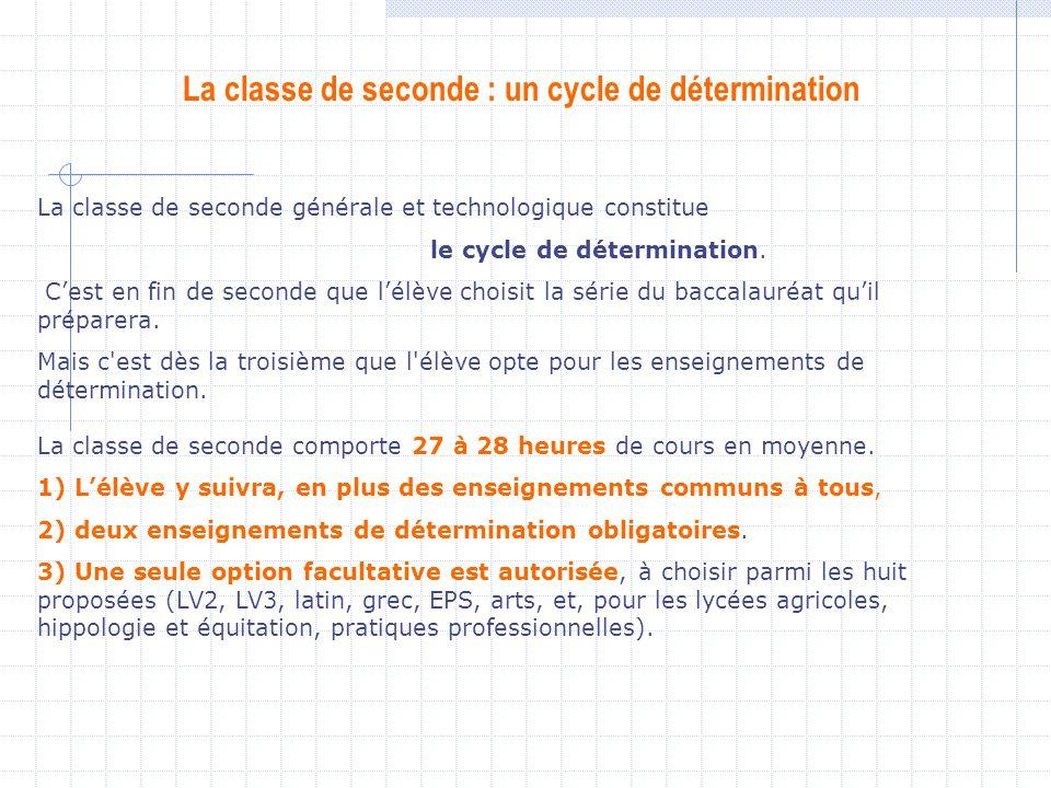 La classe de seconde : un cycle de détermination