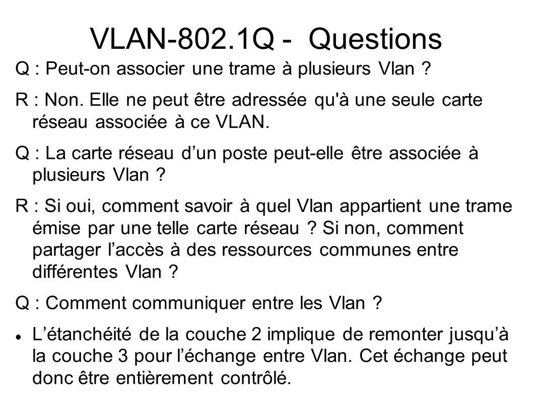 VLAN-802.1Q - Questions Q : Peut-on associer une trame à plusieurs Vlan