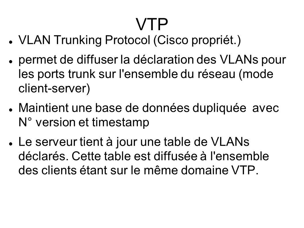 VTP VLAN Trunking Protocol (Cisco propriét.)