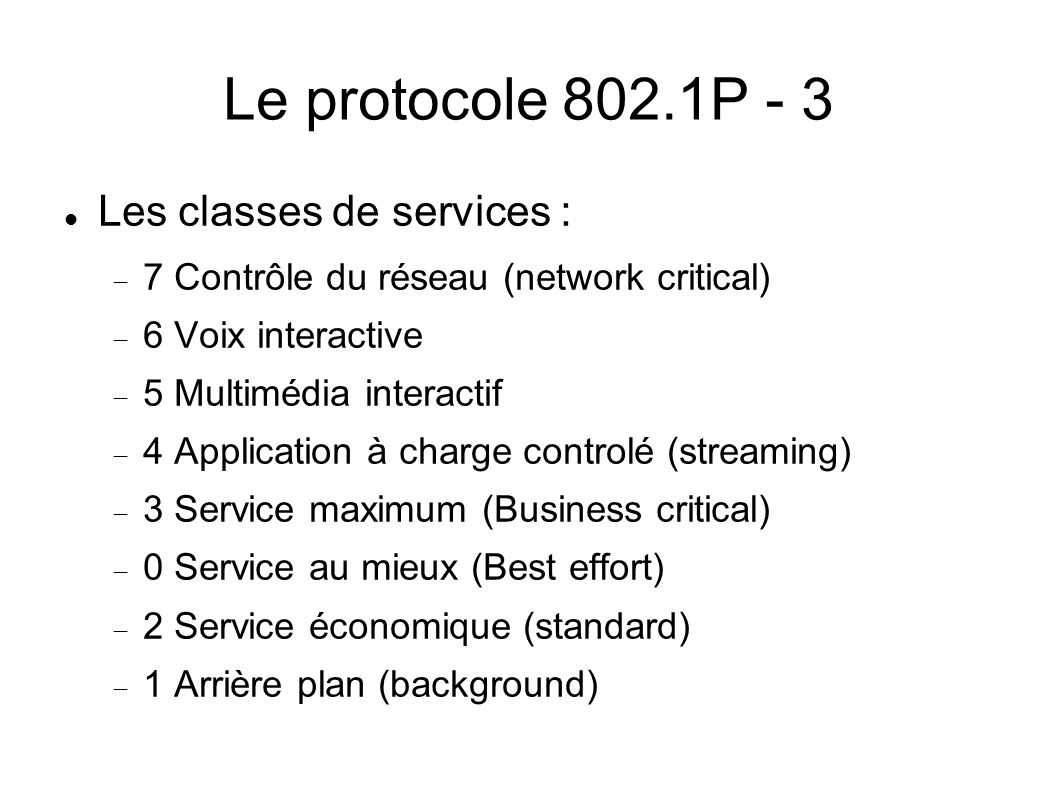 Le protocole 802.1P - 3 Les classes de services :