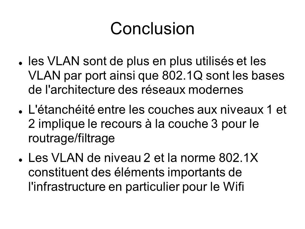 Conclusion les VLAN sont de plus en plus utilisés et les VLAN par port ainsi que 802.1Q sont les bases de l architecture des réseaux modernes.