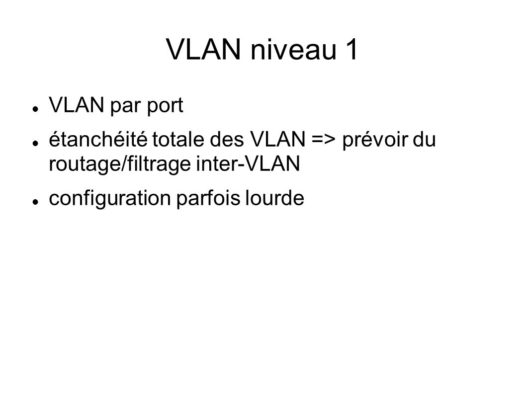 VLAN niveau 1 VLAN par port