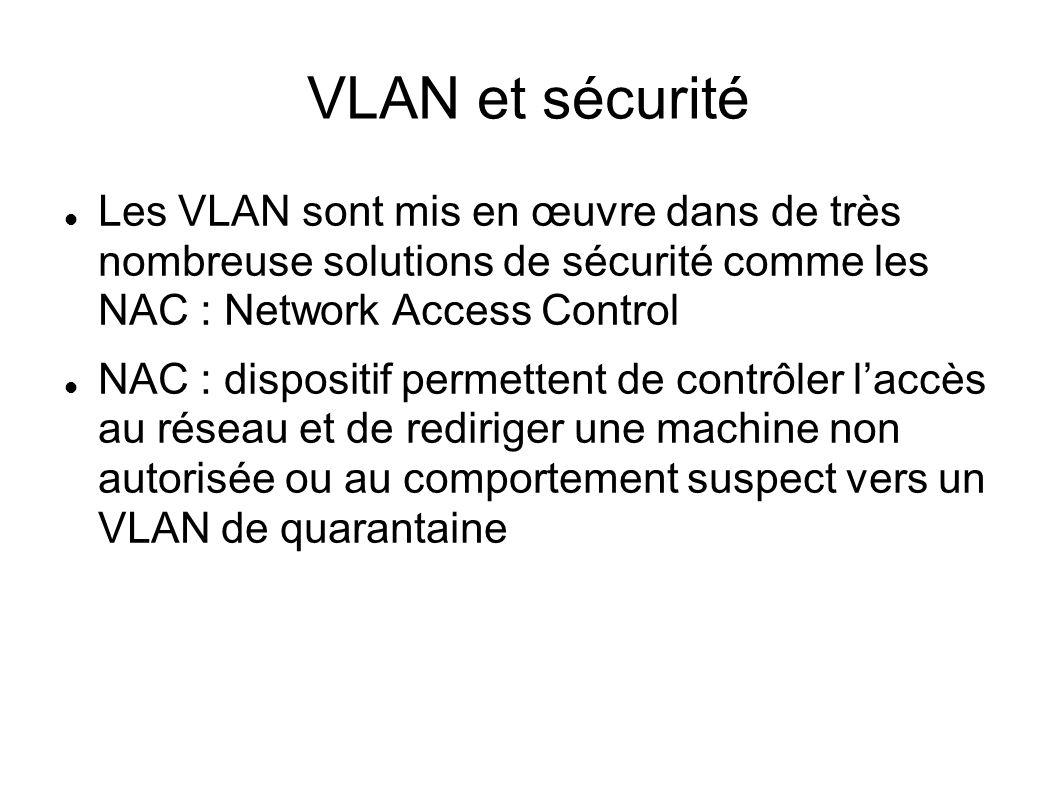 VLAN et sécurité Les VLAN sont mis en œuvre dans de très nombreuse solutions de sécurité comme les NAC : Network Access Control.