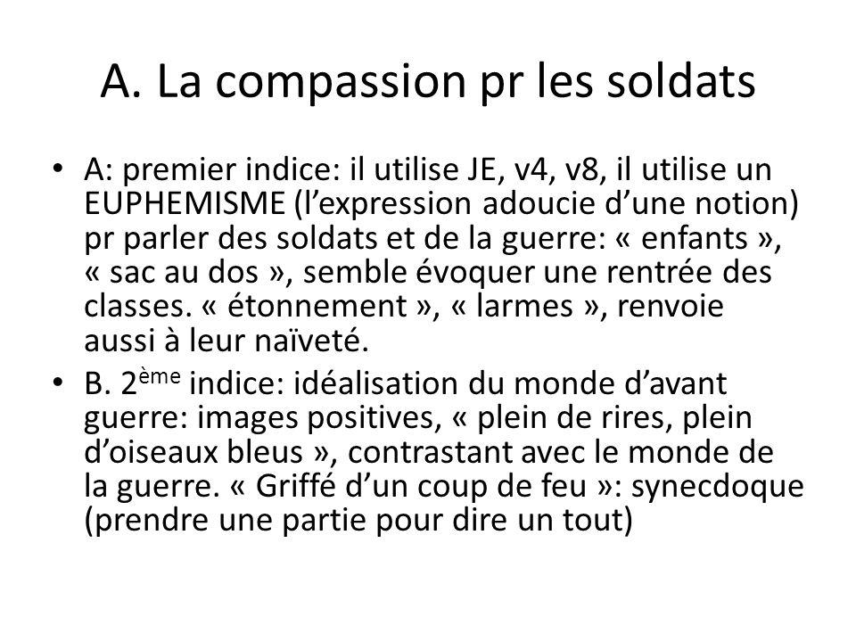 A. La compassion pr les soldats