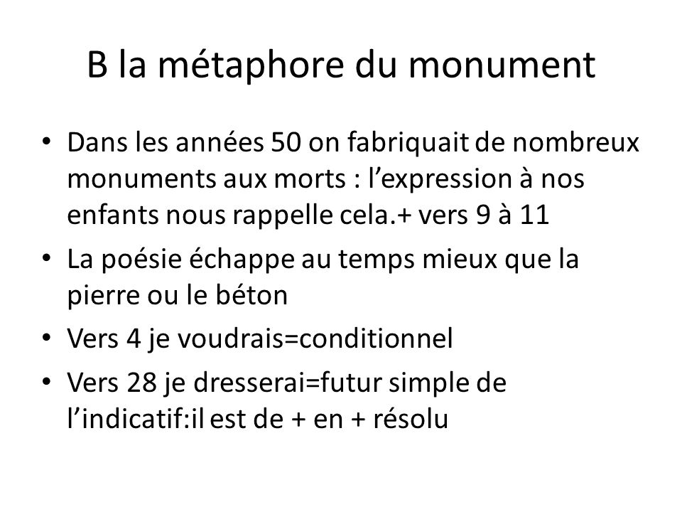 B la métaphore du monument
