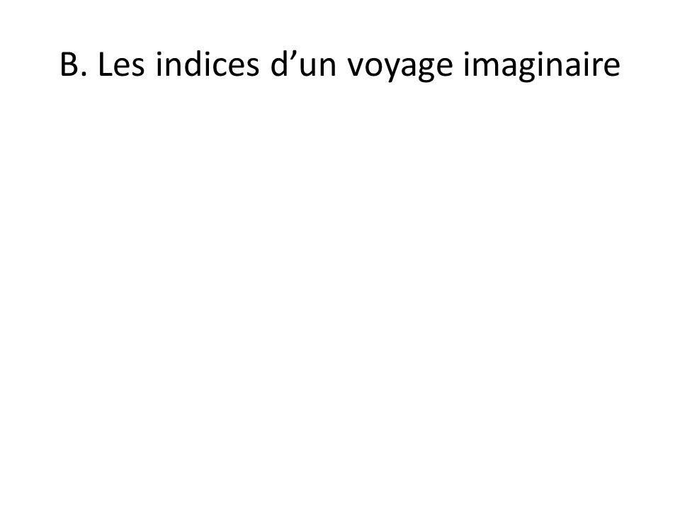 B. Les indices d'un voyage imaginaire