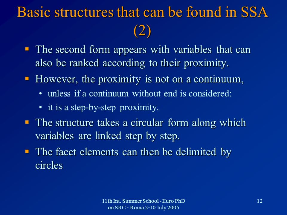 Basic structures that can be found in SSA (2)