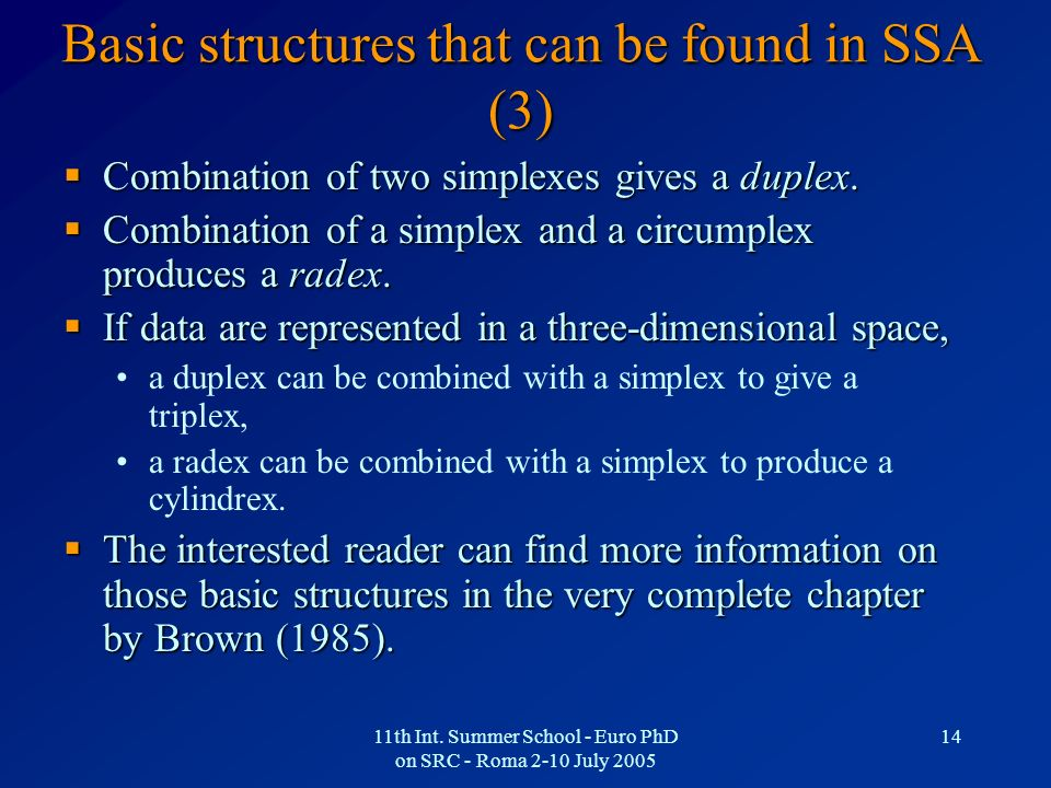 Basic structures that can be found in SSA (3)