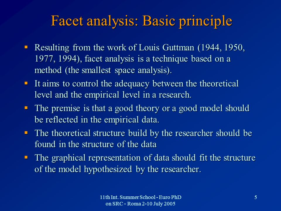Facet analysis: Basic principle