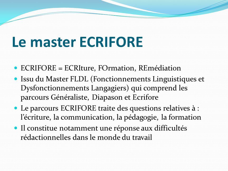 Le master ECRIFORE ECRIFORE = ECRIture, FOrmation, REmédiation