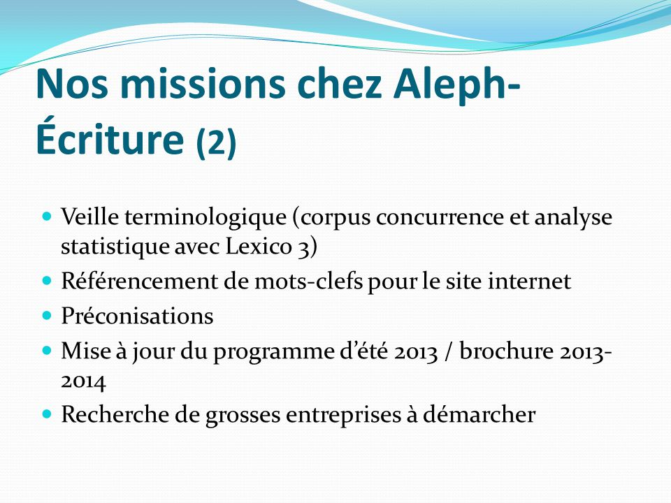 Nos missions chez Aleph-Écriture (2)