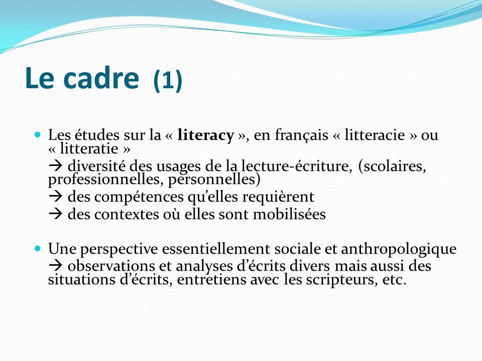 Le cadre (1) Les études sur la « literacy », en français « litteracie » ou « litteratie »