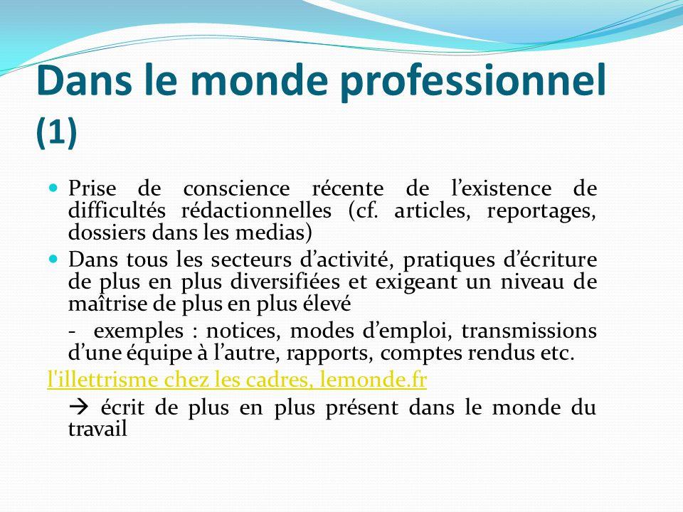 Dans le monde professionnel (1)