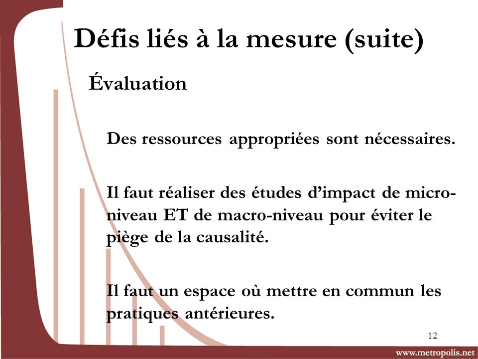 Défis liés à la mesure (suite)