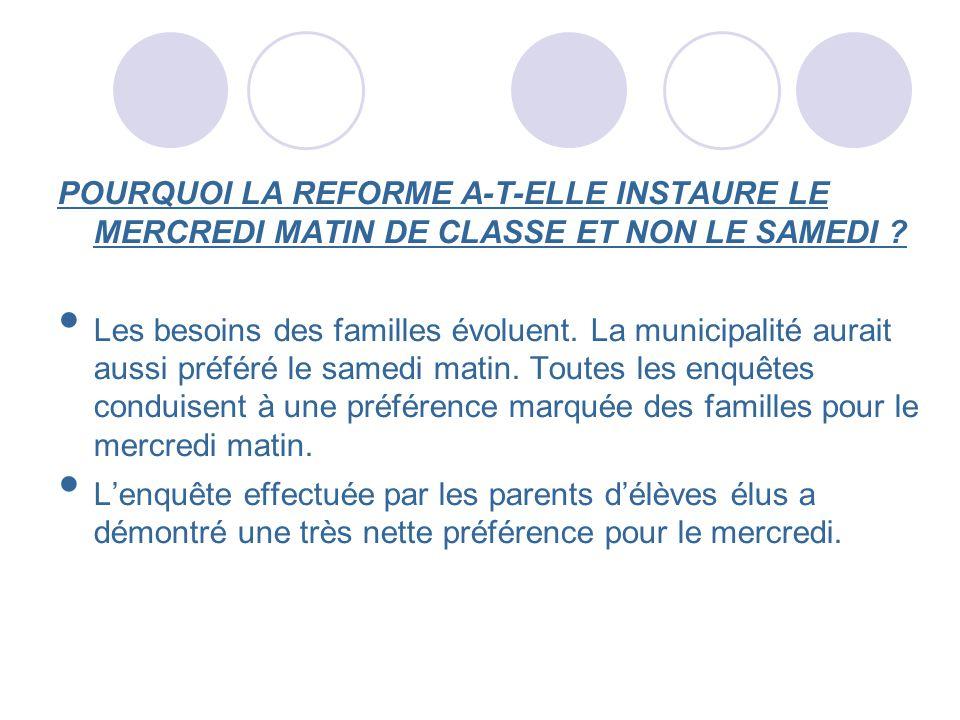POURQUOI LA REFORME A-T-ELLE INSTAURE LE MERCREDI MATIN DE CLASSE ET NON LE SAMEDI