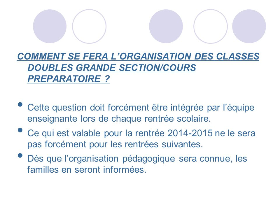 COMMENT SE FERA L'ORGANISATION DES CLASSES DOUBLES GRANDE SECTION/COURS PREPARATOIRE