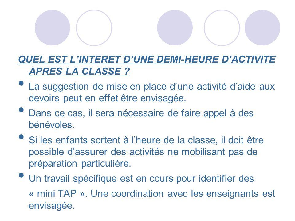 QUEL EST L'INTERET D'UNE DEMI-HEURE D'ACTIVITE APRES LA CLASSE
