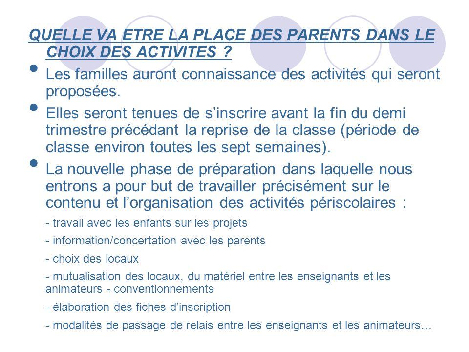 QUELLE VA ETRE LA PLACE DES PARENTS DANS LE CHOIX DES ACTIVITES