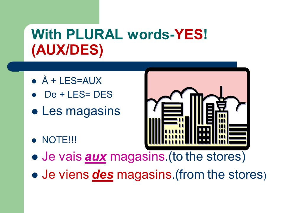 With PLURAL words-YES! (AUX/DES)