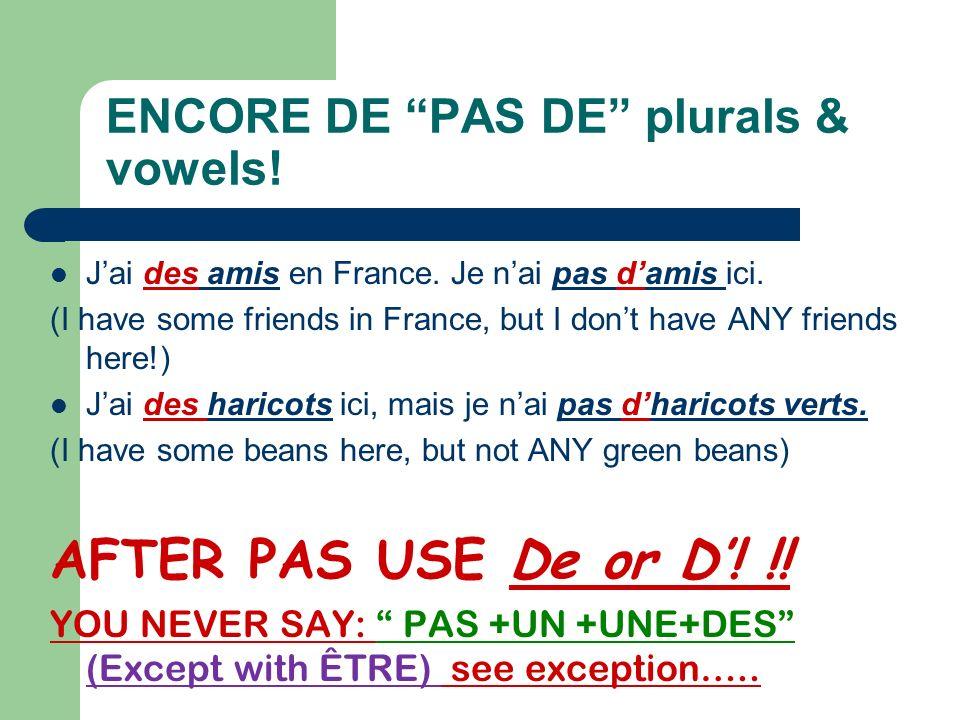 ENCORE DE PAS DE plurals & vowels!