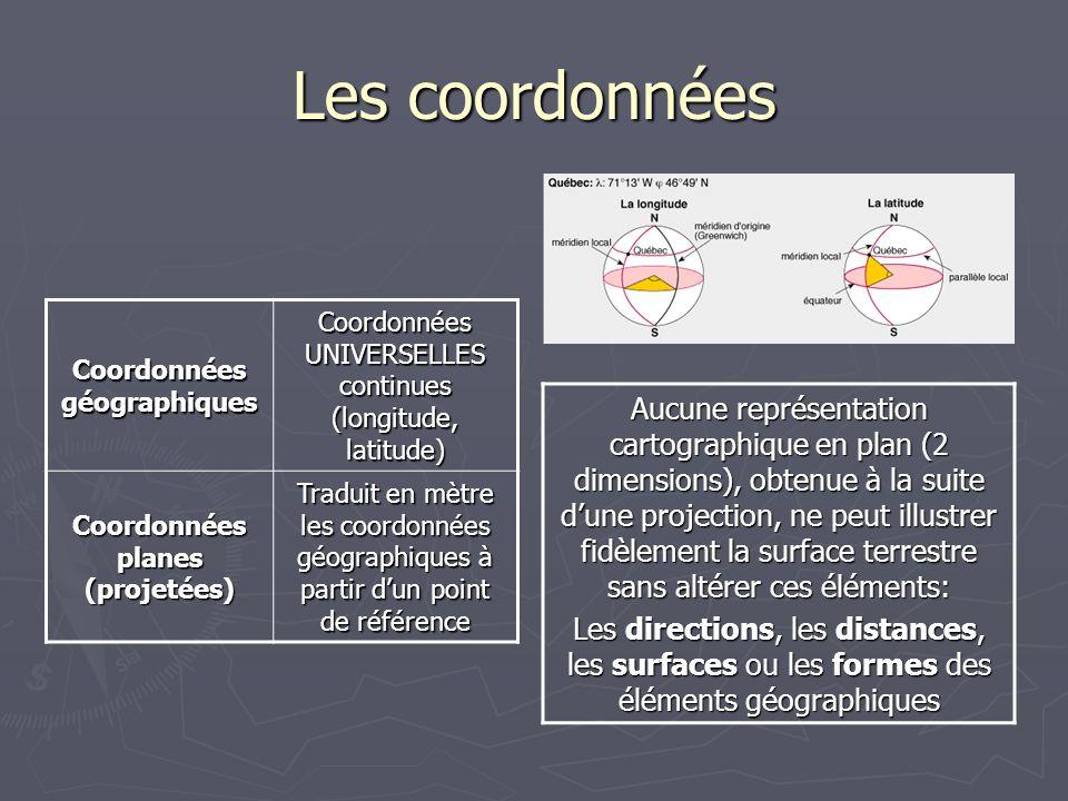 Coordonnées géographiques Coordonnées planes (projetées)