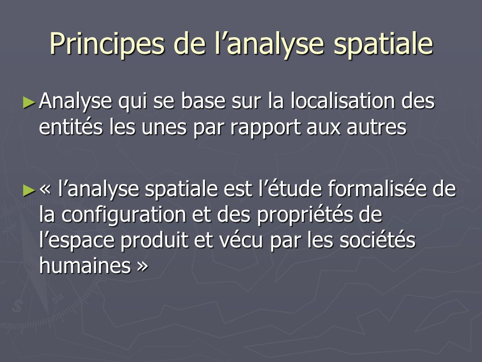 Principes de l'analyse spatiale