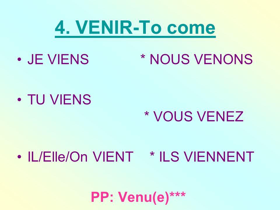 4. VENIR-To come JE VIENS * NOUS VENONS TU VIENS * VOUS VENEZ