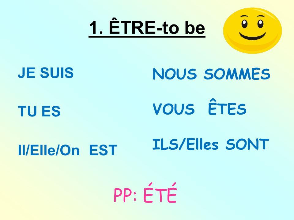 1. ÊTRE-to be PP: ÉTÉ JE SUIS TU ES Il/Elle/On EST NOUS SOMMES