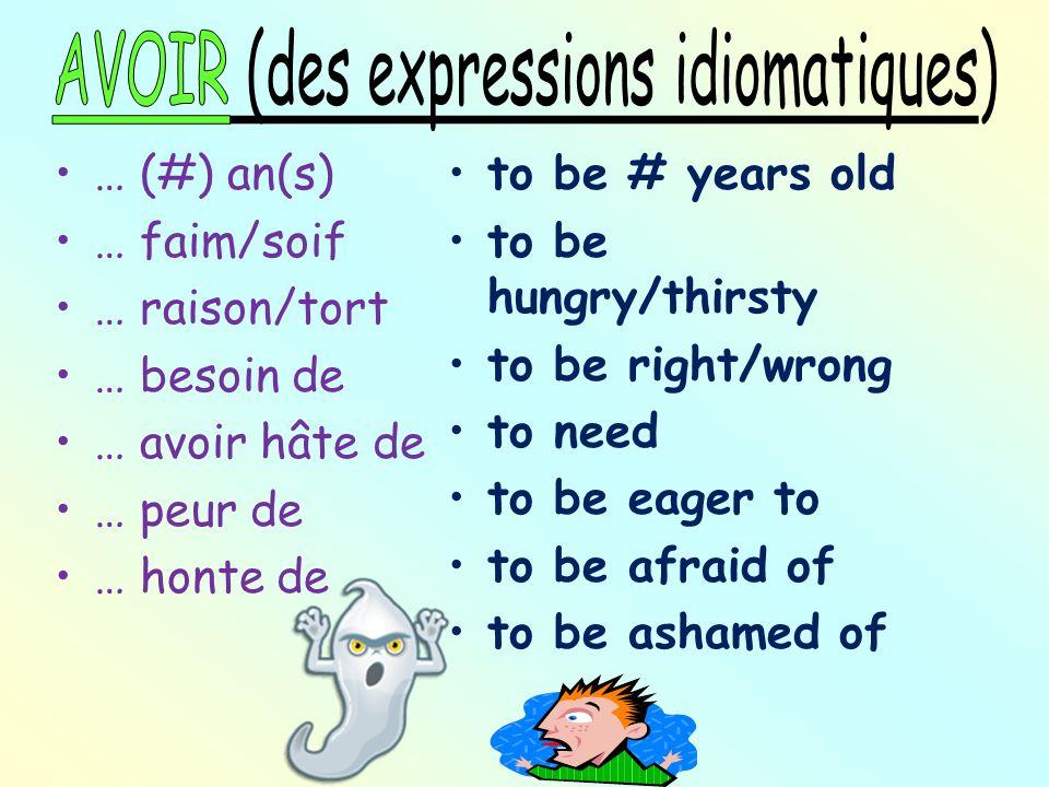 AVOIR (des expressions idiomatiques)