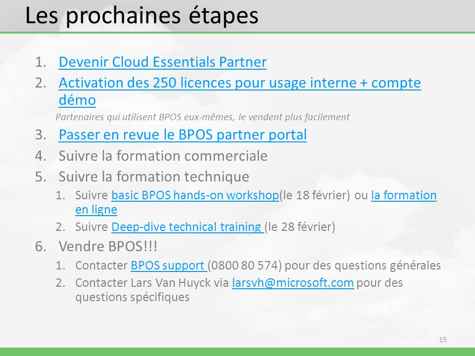 Les prochaines étapes Devenir Cloud Essentials Partner