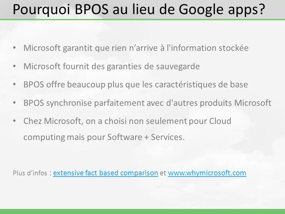 Pourquoi BPOS au lieu de Google apps