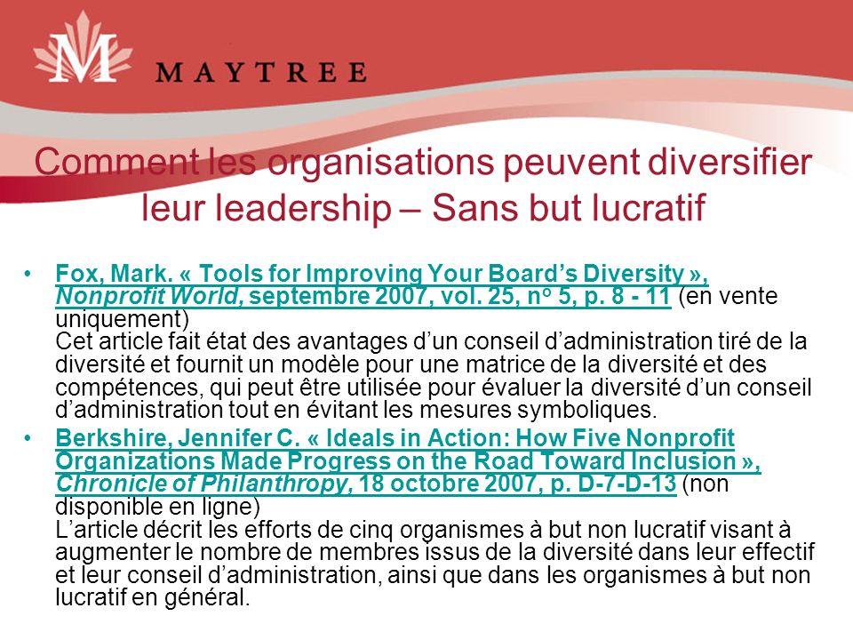 Comment les organisations peuvent diversifier leur leadership – Sans but lucratif