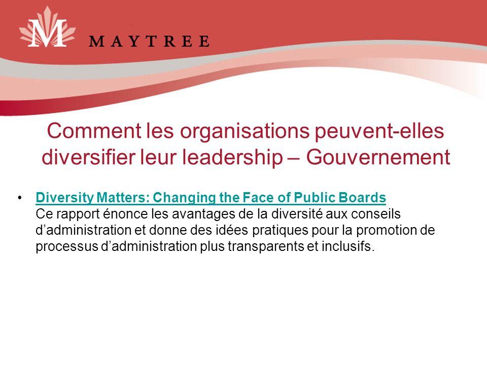 Comment les organisations peuvent-elles diversifier leur leadership – Gouvernement