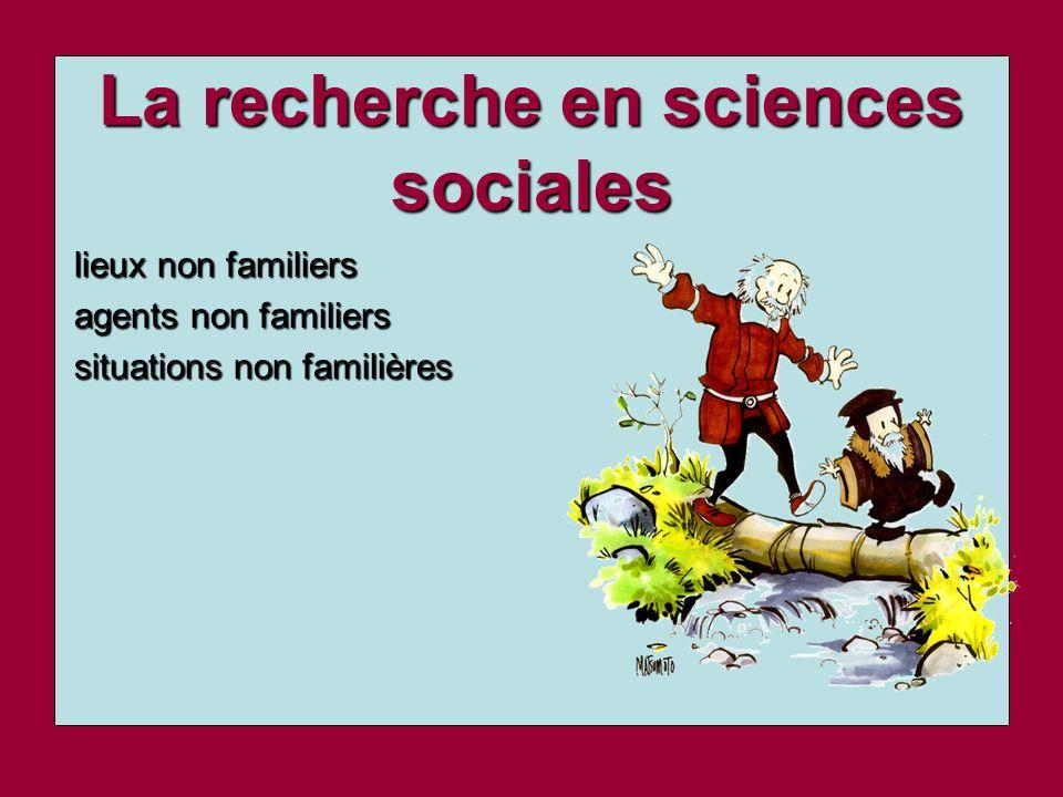 La recherche en sciences sociales
