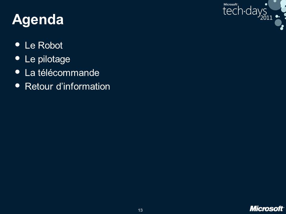 Agenda Le Robot Le pilotage La télécommande Retour d'information