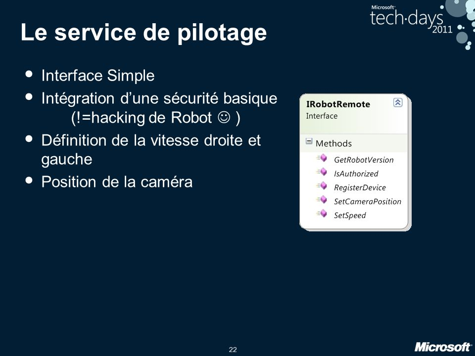 Le service de pilotage Interface Simple