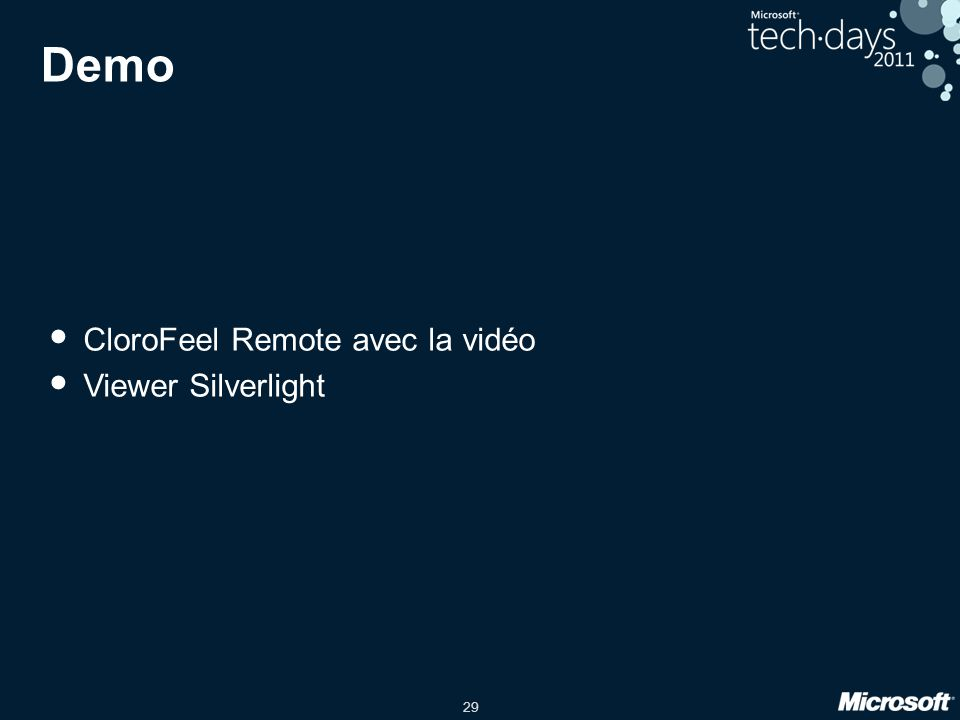 Demo CloroFeel Remote avec la vidéo Viewer Silverlight